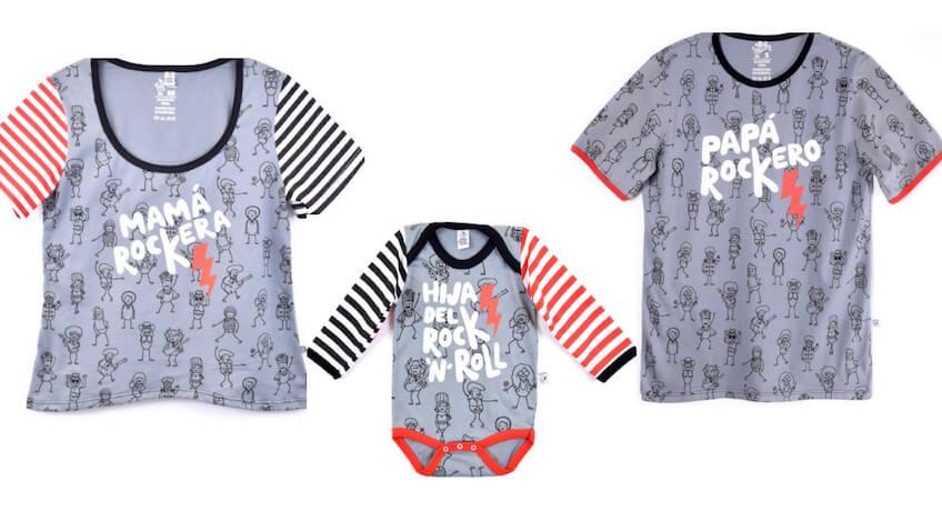 Camisetas para madres y padres rockeros a juego con body de bebé con la frases