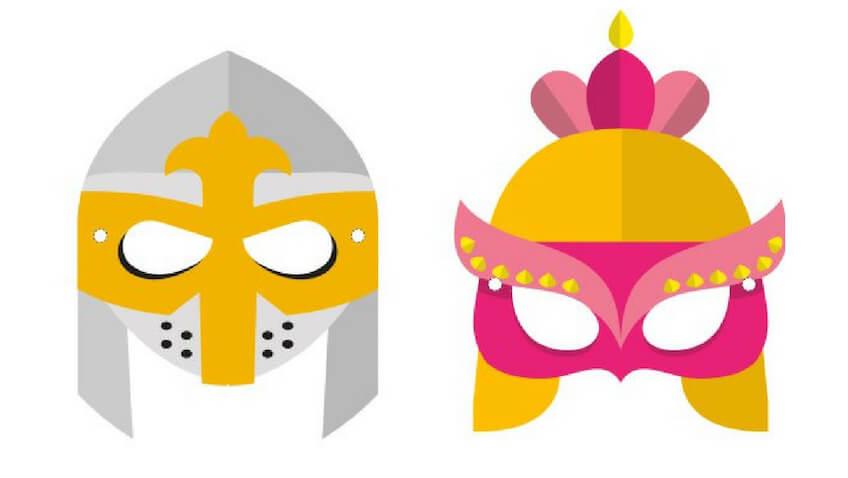 máscaras para Carnaval de Caballero Medieval y Doncella para imprimir