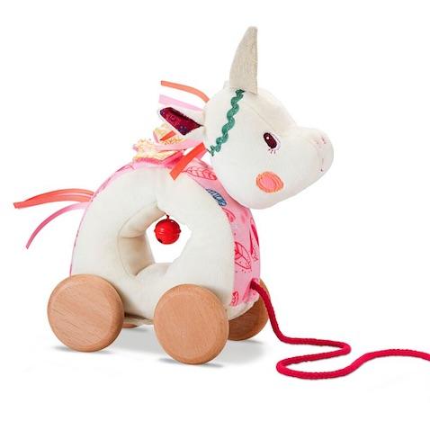 Muñeco de juguete de arrastre de la unicornio Louise