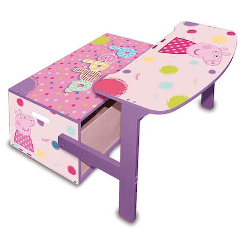 Pupitre para niños de Peppa Pig rosa y lila