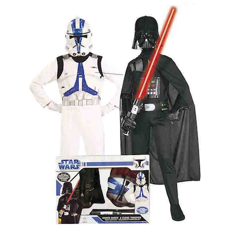 Pack disfraces infantiles Darth Vader y Clone Trooper Star Wars para niños