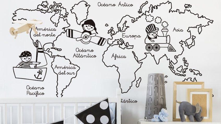 vinilo infantil ilustrado para decorar habitaciones de niñ@s mapa con mundi blanco y negro