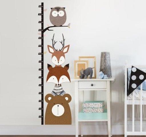 vinilo infantil medidor animales bosque