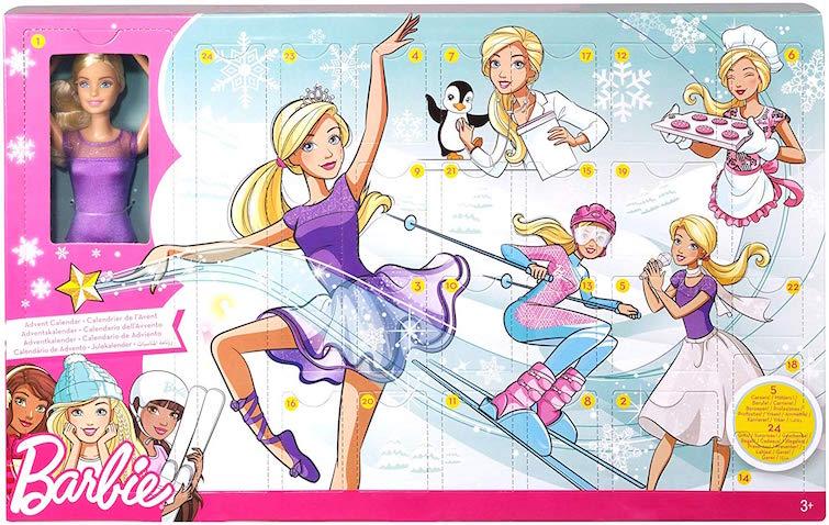 Calendario de Adviento de Barbie con muñeca de Navidad y accesorios