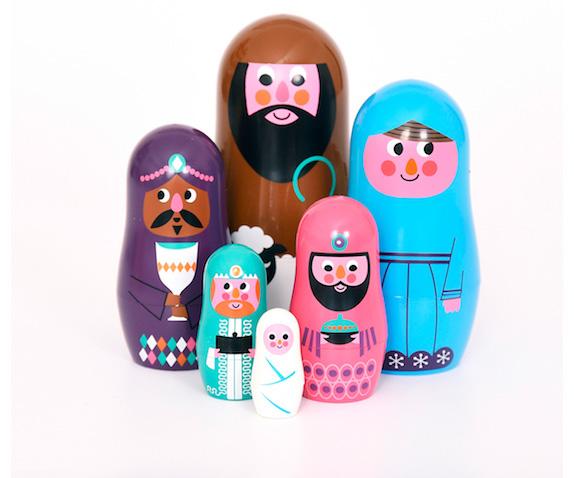 Belén de Navidad para niños de Matrioska de colores