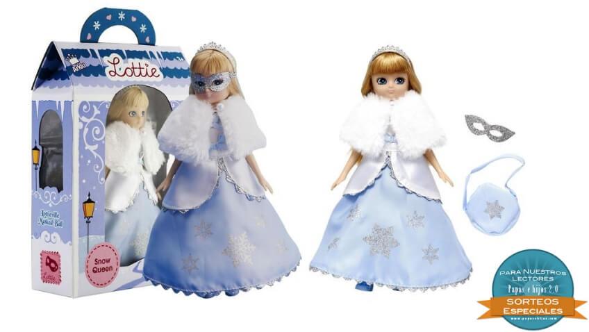 Muñeca Lottie Reina del Hielo con vestido azul, abrigo y accesorios