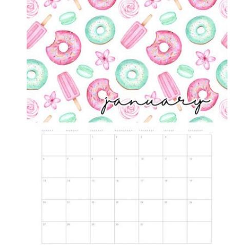 Calendario de 2019 para imprimir gratis con dulces
