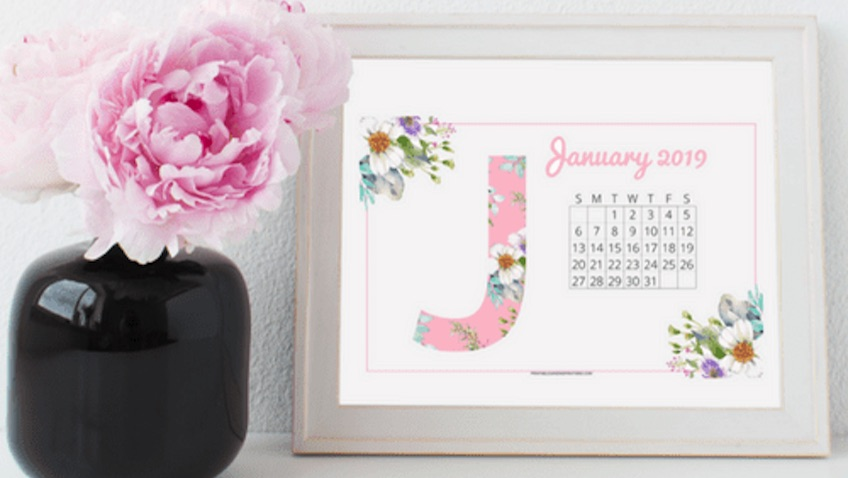 Calendario mensual de 2019 para imprimir de Printables and Inspirations