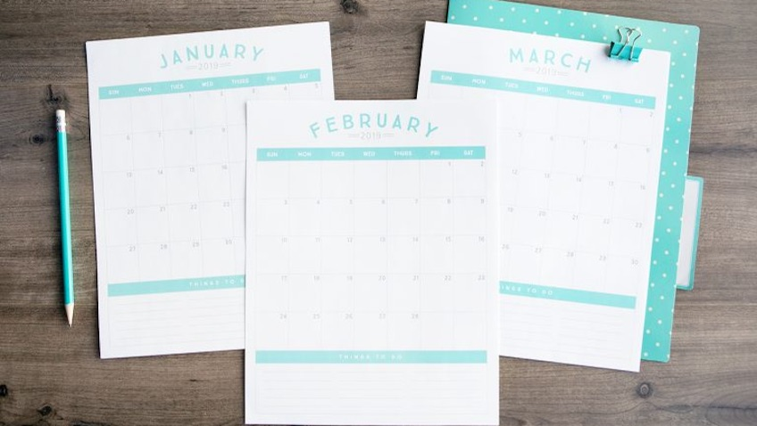 Calendario mensual para el 2019 para imprimir gratis horizontal