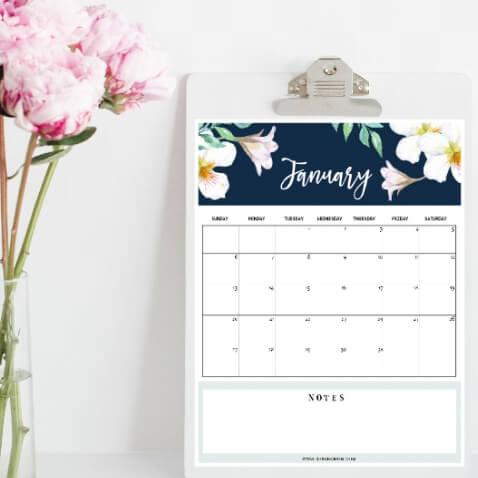 Calendario del 2019 para imprimir gratis de Shining Mom