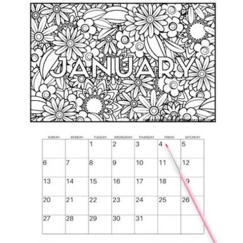 Calendario para colorear de 2019 para imprimir gratis