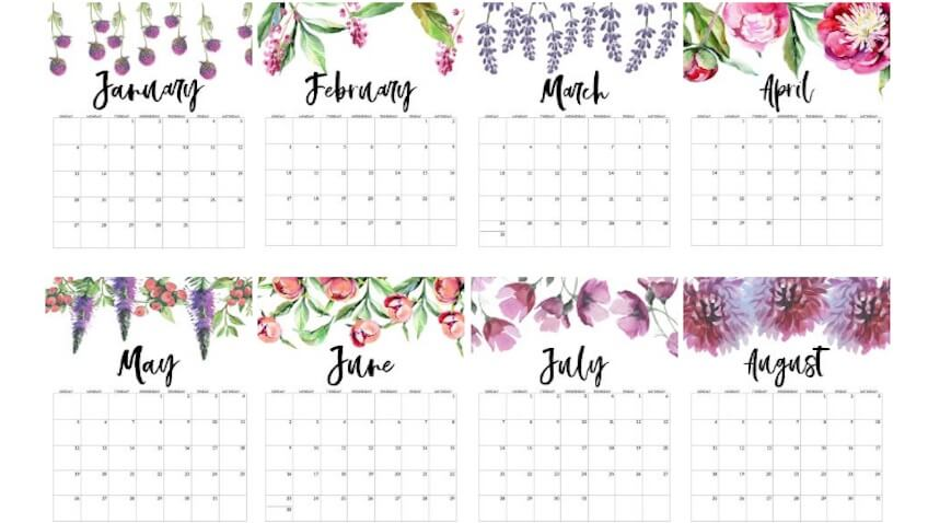 Calendario editable para el 2019 de paper trail design