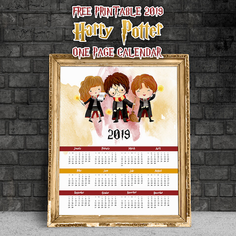 calendario harry potter 2019 para imprimir gratis