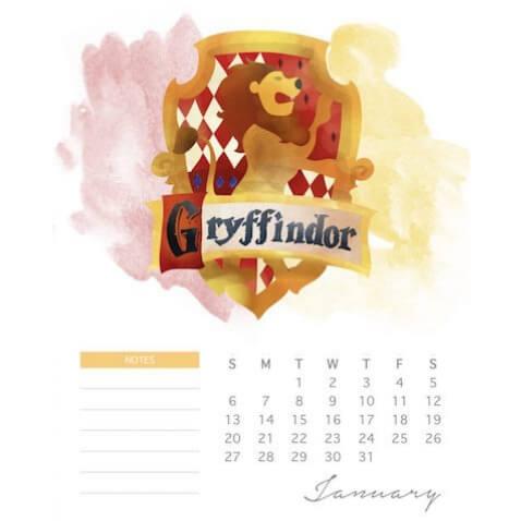 Calendario de Harry Potter para el 2019 para imprimir gratis