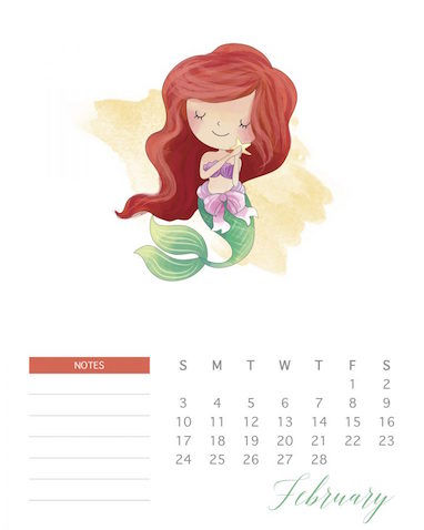 Calendario para imprimir Princesas Disney Sirenita