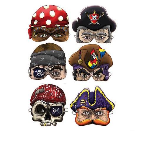 Caretas piratas de cartón para disfraz casero