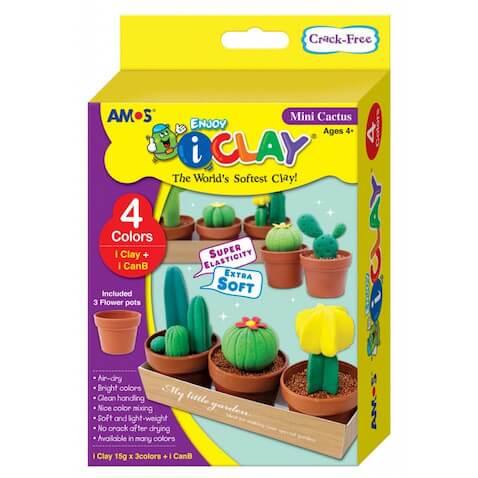 Kit completo para diseñar mini cactus de arcilla polimérica i-Clay para el día del padre
