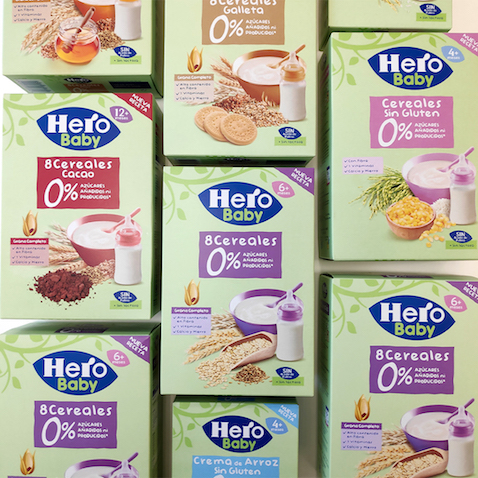 Nuevas papillas de Hero Baby 0% azúcares añadidos ni producidos cajas