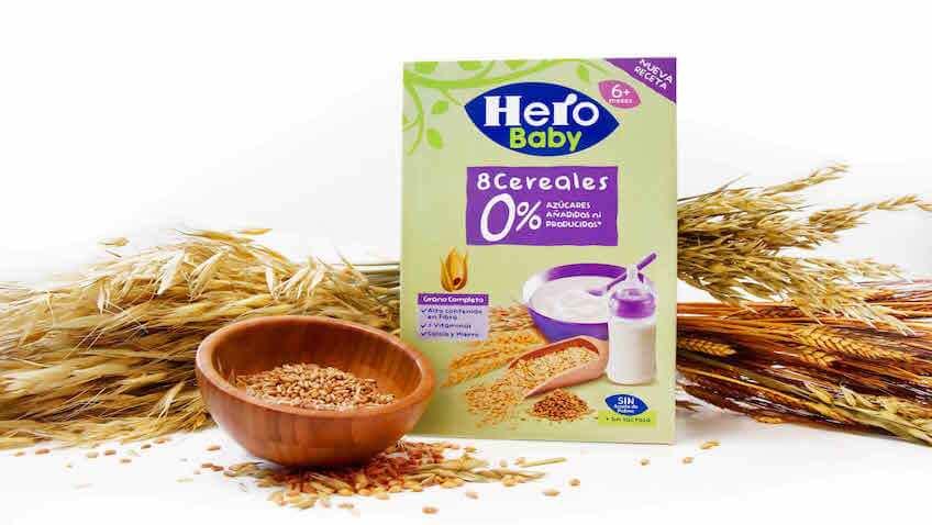 papillas de Hero Baby 0% azúcares añadidos ni producidos