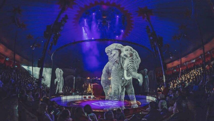 hologramas 3D de elefantes espectáculo del circo alemán