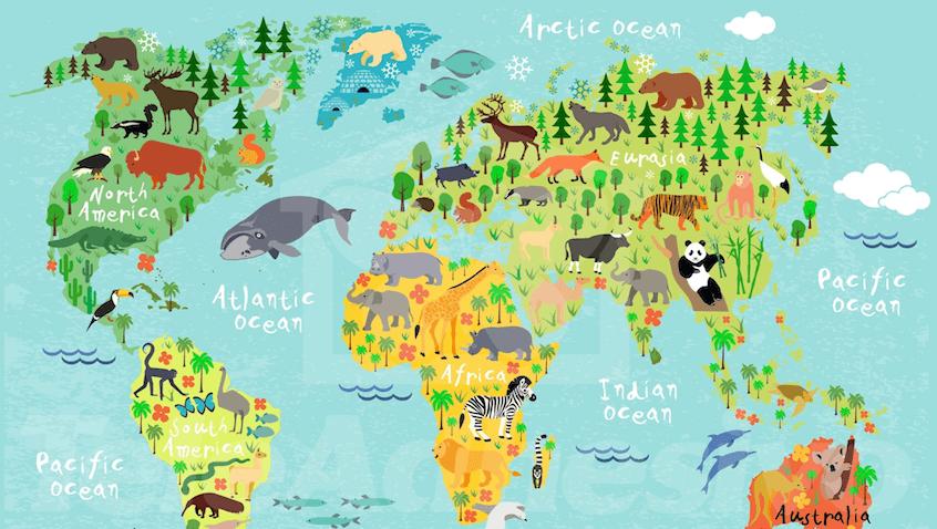 vinilos infantiles mapamundi con animales