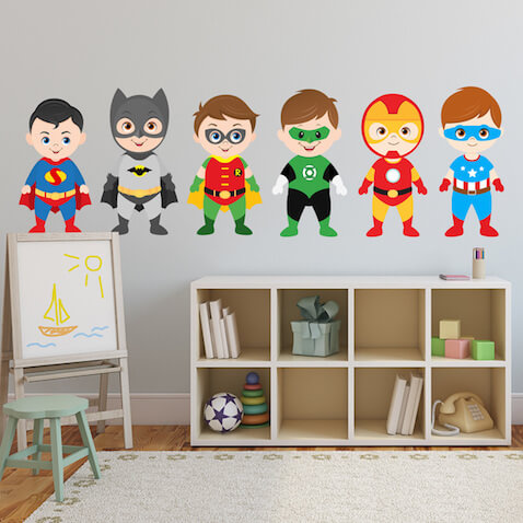 Vinilo infantil Kit Superhéroes batman, Robin, Superman, Linterna Verde, Ironman y el Capitán América