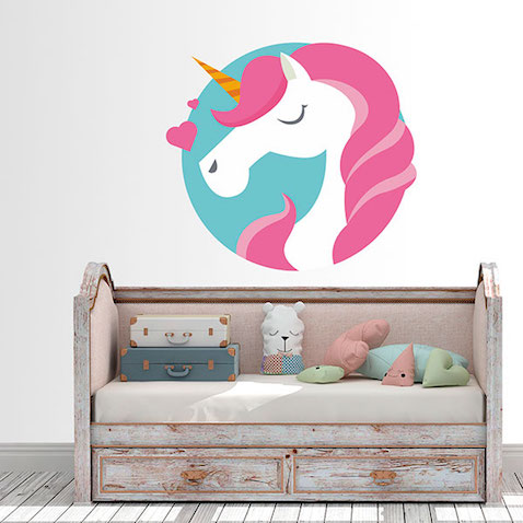 Vinilo decorativo para pared de Unicornio enamorado