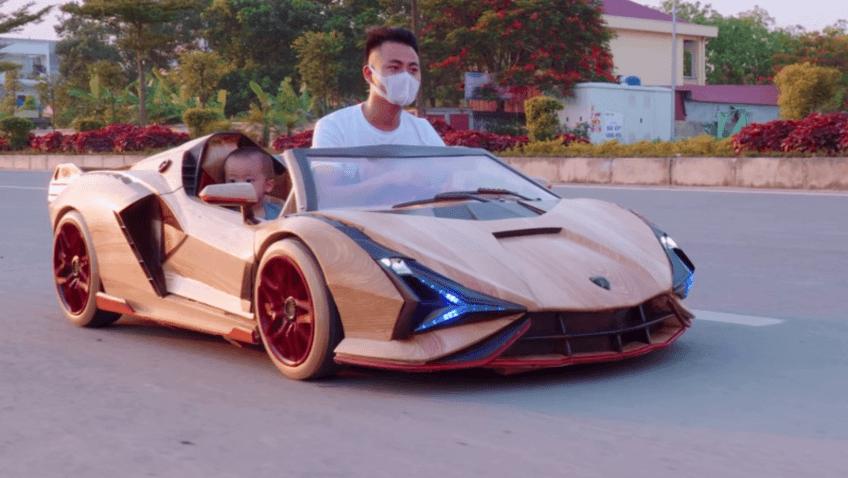 Lamborghini Sian Roadster hecho de madera